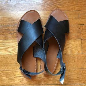 Women's Black Target Sandals